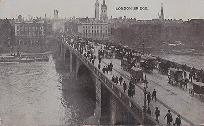 RA 26a rare old travelled postcard LONDON BRIDGE 1909 without stamp