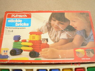 Vintage Playskool Stickle Bricks Brick set boxed building system with heads rare