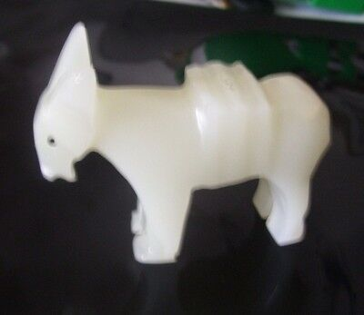 """White Onyx Stone Carved Donkey Mule Figurine Paperweight  3  3/8 """" LONG"""