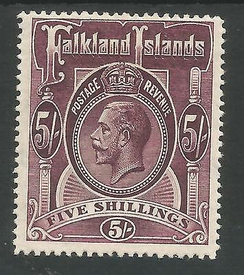 Falkland Is Sg67 The 1916 Gv 5/- Maroon  Fine Mint Cat £130