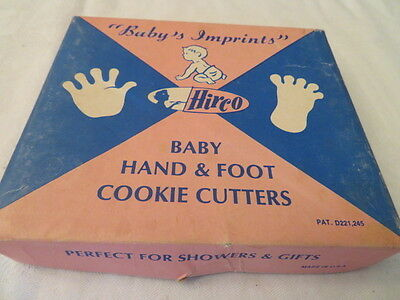 "Vintage Cookie Cutters Baby Hand And Foot "" Baby's Imprints "" For Baby Showers"
