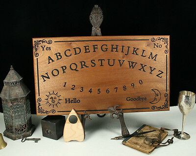 XL Engraved Ouija Board & Planchette - Solid African Sapele Wood - Witch Spirit