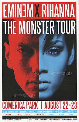 "EMINEM X RIHANNA MONSTER TOUR DETROIT CONCERT POSTER 11"" x 17"" signed by artist"