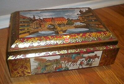 Vintage E.Otto Schmidt Tin Container Box w/Lid Lithograph Large Chest W.Germany