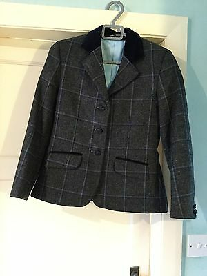 Girls / Maids Lovely Le Beau Cheval Grey Tweed And Navy Show Jacket