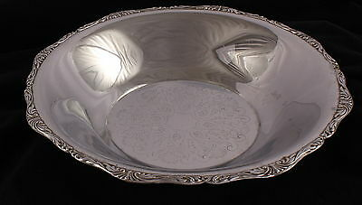 Chrome Serving Bowl With Scroll Design 11 In Diameter VTG Never Needs Polishing