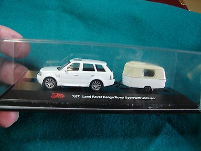 1:87 Land Rover Range Sport With Caravan Malibu Toy Model