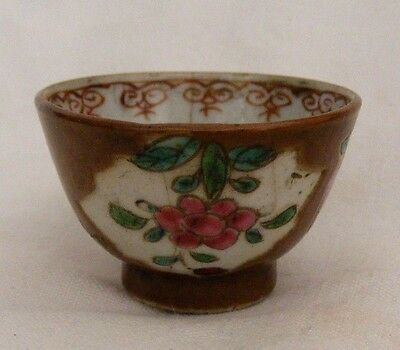 Antique Early Chinese Batavian Ware Wine Cup Tea Bowl Famille Rose Note To Base