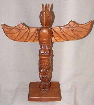Vintage? Carved Native American Canadian North American Totem Eagle Wings 13.5""