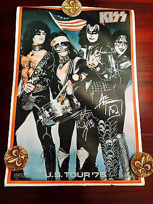 Kiss Aucoin Signed Poster Ace Frehley Peter Criss