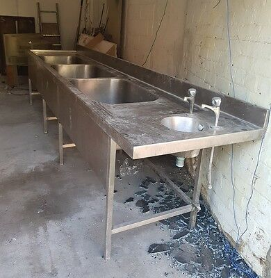 Triple bowl commercial stainless steel sink