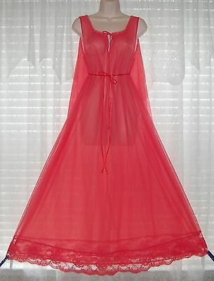 Vtg Raspberry Double Layer Sheer Chiffon Nightgown Gown Negligee Lace M