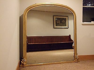 Large  Antique Giltwood & Gesso Overmantle Mirror C1865 Mercury Glass Overmantel