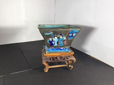 Vintage Chinese Cloisonné Vase Planter With Original Stand