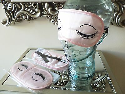 Luxe EYE MASK Eyelash Embroidery Satin Cushioned Shade Cover Rest Relax Sleep