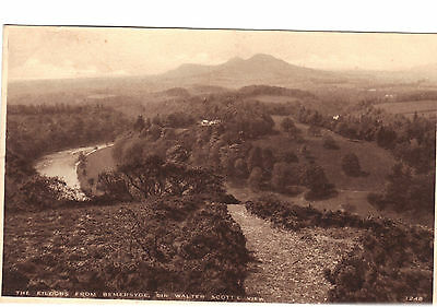 EILDONS from Bemersyde Sir Walter Scotts View Postcard 1248 Edwards