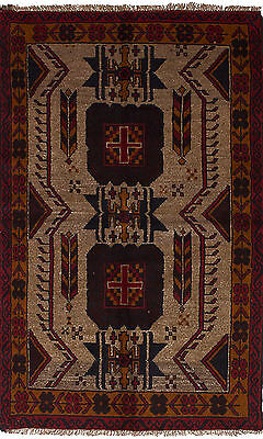 "Hand-knotted Carpet 3'4"" x 5'11"" Baluch Traditional Wool Rug"