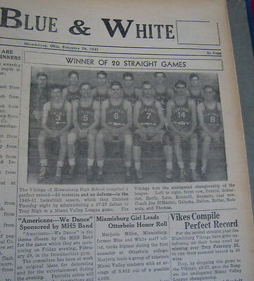 The Blue & White Miamisburg OH. High School Hardbound Newspapers 1940/1941