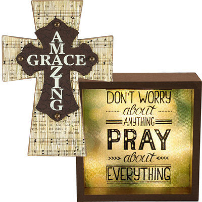NEW (Set) Inspirational Amazing Grace Wall Cross And Don't Worry LED Light Box
