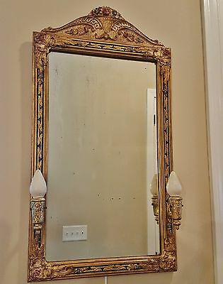 Rare Antique Gilt And Polychrome French Empire Fruit Basket Wall Mirror Lamp Sc