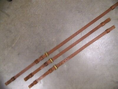 LEATHER LUGGAGE STRAPS for LUGGAGE RACK/CARRIER~(3) SET~LT MED BROWN~SOLID BRASS