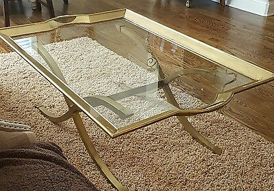 RARE  MID CENTURY LaBARGE JANSEN BRASS CAMPAIGN XBASE COCKTAIL TABLE GLASS TRAY