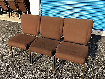 Summit Series Stacking Church Chairs - Dark Brown Fabric - Lot of (437) Chairs