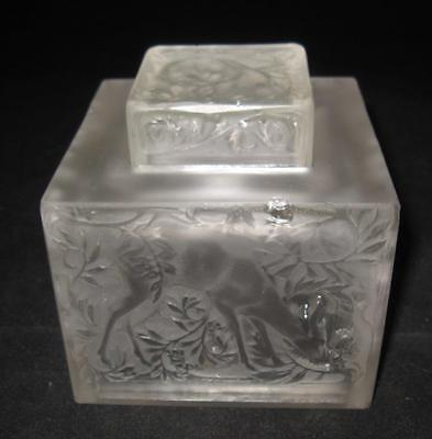 Frosted Inkwell (Might be Rene Lalique Biches Inkwell ?) Deers, w/Chips & Cracks