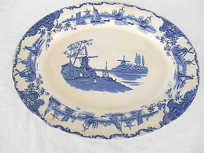 """OLD DELFT STYLE SCENE BLUE TRANSFER 14.5"""" PLATTER Windmills & Boats Made England"""