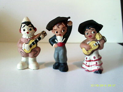 LOT of 3 Vintage Hand Painted Clay SPANISH DOLLS Collectible MUSICAL MUD PEOPLE