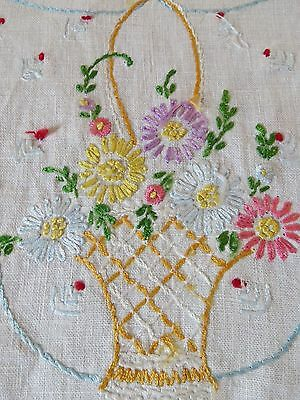 Vintage Linen Embroidered Table Runner Easter Basket Colorful Flowers