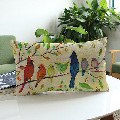 Bird Printing Sofa Bed Home Decoration Festival Pillow Case Cushion Cover