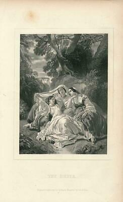 Young women resting in outdoor setting ca. 1850's era Female antique print