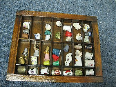 THIMBLES Set of 34 in wooden case Shelf
