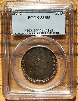 1902 AU55 PCGS 50C Barber Half Dollar Gorgeous Toning