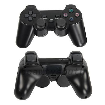 2Pcs Black Wireless Shock Game Controller for Sony PS2 UK Local Post