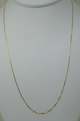 14K solid gold 22 inches fine box link style chain