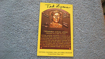 Autographed Ted Lyons gold baseball HOF Plaque postcard.
