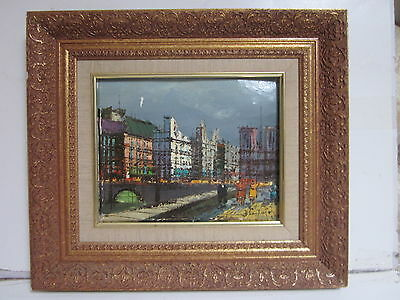 Vintage Framed Oil On Canvas European City After Wwii Signed By Blanton
