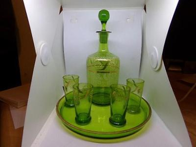 Antique-Vintage Hand Decorated Bohemia Glass Wine Decanter Glasses & Tray Green