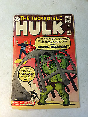 Incredible Hulk #6 Key Early Issue,, Metal Master,, Ditko, Stan Lee, 1963
