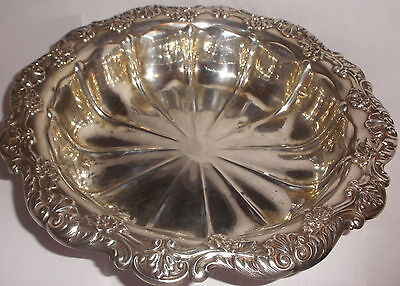 "Antique Gorham Sterling Silver Large 10"" Fruit Serving Bowl Floral repousse"