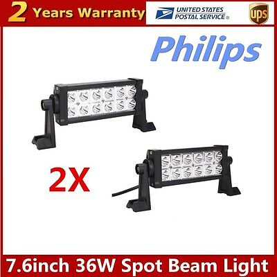 "PHILIPS 2X 7.6"" 36W LED Work Light Bar Spot Offroad Driving 4WD Boat Truck Lamp"