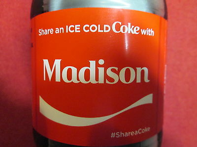 Brand New 2017 Share a Coke with MADISON-20 oz Collectible Coca-Cola Bottle-HTF