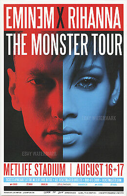 "EMINEM X RIHANNA MONSTER TOUR NEW YORK CONCERT POSTER 11"" x 17"" signed by artist"