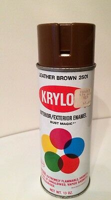 Vintage Krylon Borden Spray Paint Can Leather Brown Notch Pry Top 2501