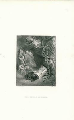 Diana and the Satyrs sleeping nude woman ca.1850's era Love Female antique print