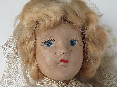 """Antique Hand Painted Composition Doll """" The Bride """" Wedding Dress Collectible"""