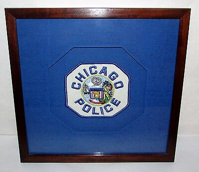 Unique Custom Framed Chicago Illinois Police Patch Octagon Shadow Box Style