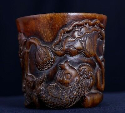 Exquisite Rare Antique Chinese Ox Horn Hand Carving Fish Landscape Cup US176